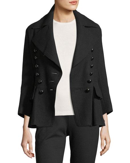 Double-Breasted Peplum Coat