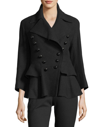 Double-Breasted Peplum Coat