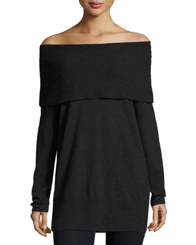 Sibel Fold-Over Tunic Sweater, Black