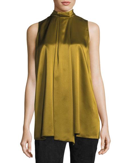 Callie Sleeveless Luxe Silk Charmeuse Blouse