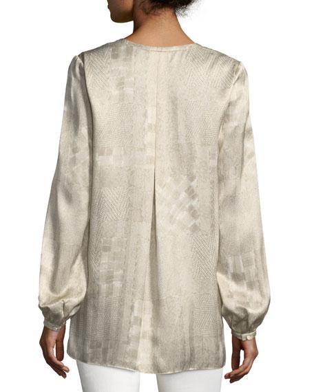 Lolita Long-Sleeve Patchwork Jacquard Silk Blouse