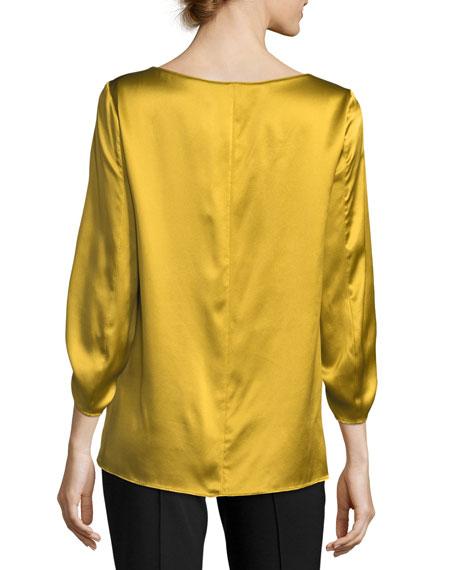 Elisio 3/4-Sleeve Bateau-Neck Silk Blouse