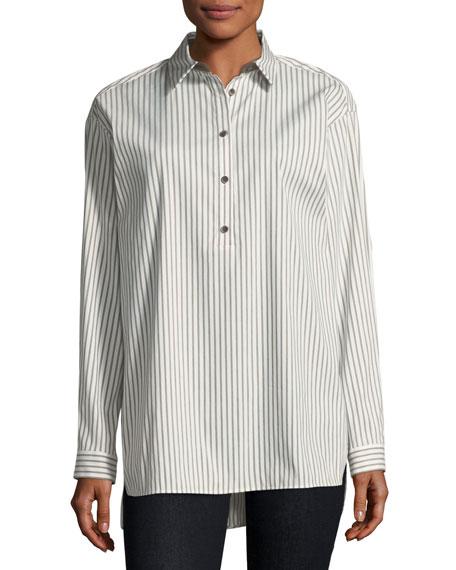 Kia Long-Sleeve Supreme Stripe Blouse