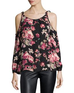 Jilette Long-Sleeve Floral-Print Silk Top