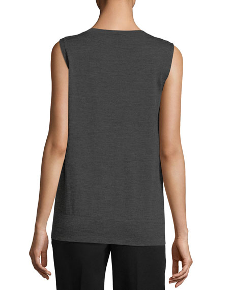 Sleeveless Sheer-Trim Merino Sweater