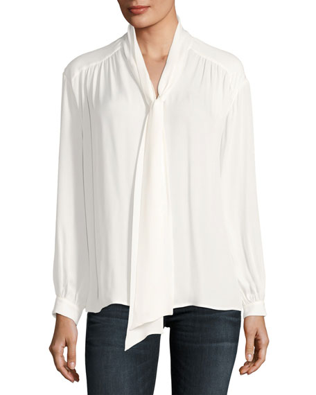 Esti Long-Sleeve Silk Top, White