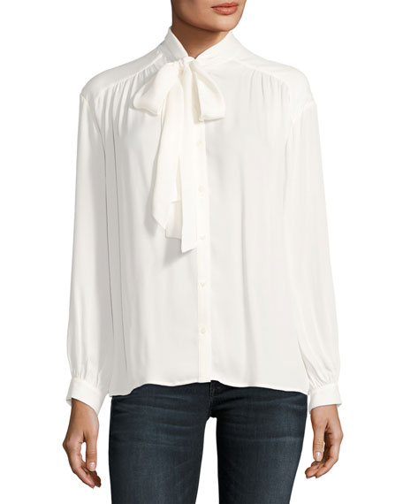 Esti Long-Sleeve Silk Top, White