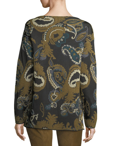 Bateau-Neck Merino Paisley Jacquard Sweater
