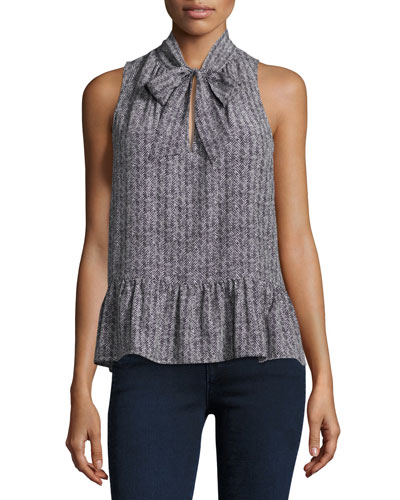 Estero Sleeveless Herringbone Silk Top, Black