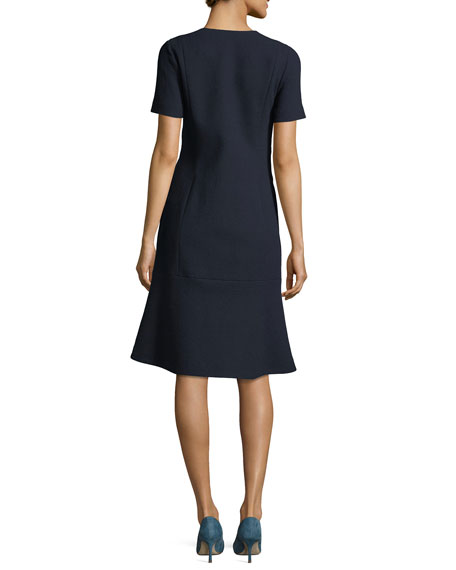Sonya Short-Sleeve Zip-Front Wool Crepe Dress