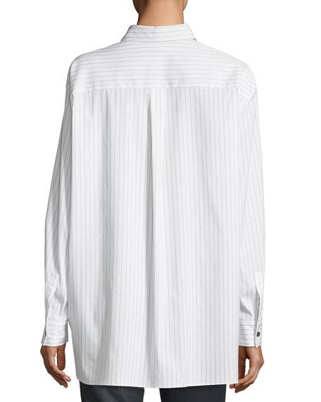 Jessie Runway Pinstripe Button-Front Blouse