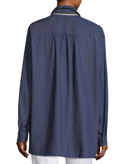 Kia Long-Sleeve Stretch-Denim Blouse