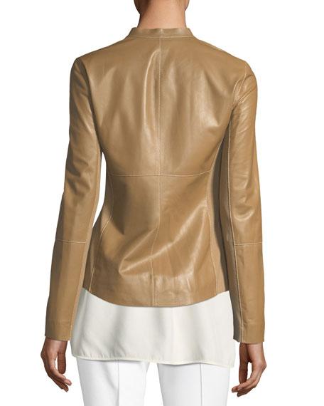Embla Lambskin Leather Jacket w/ Ponte Combo