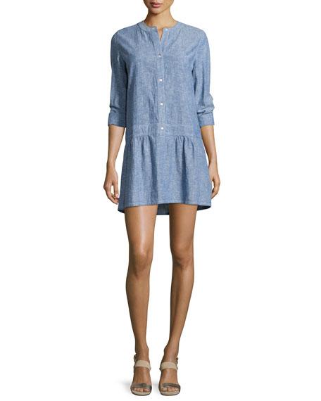 Soft Joie Amiri Button-Front Mini Dress, Blue