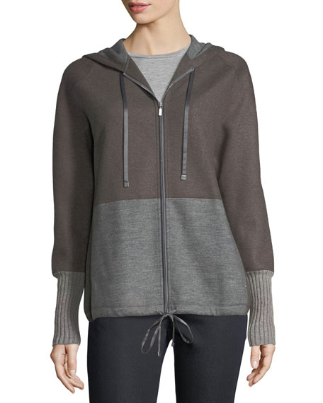 Zip-Front Colorblocked Wool-Blend Jersey Hoodie
