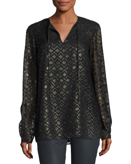 Eli Metallic Geometric Mineralized Cloth Blouse