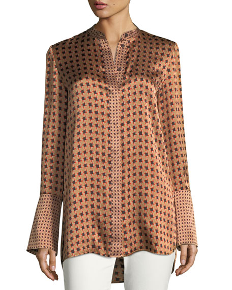 Desra Bell-Sleeve Highgate Herringbone Silk Blouse