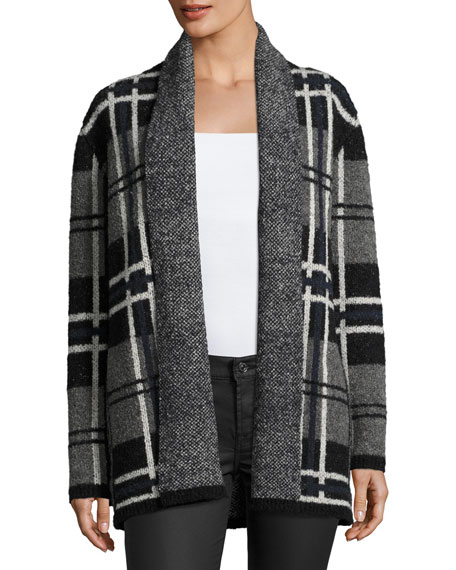 Shyah Plaid Open-Front Cardigan Sweater, Gray