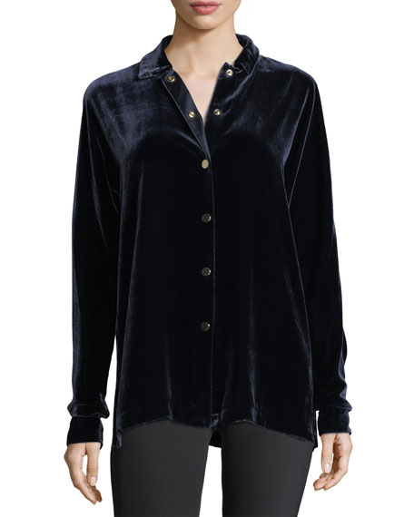 Carlita Long-Sleeve Snap-Front Velvet Blouse
