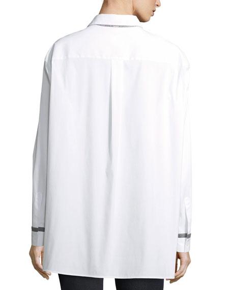 Jessie Long-Sleeve Stretch-Cotton Blouse