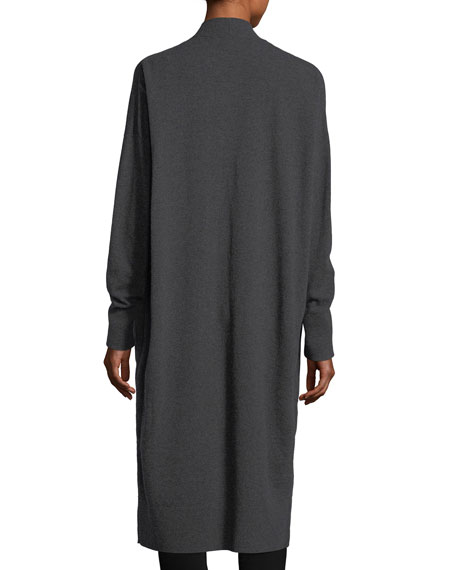 Long Button-Front Merino/Cashmere Cardigan