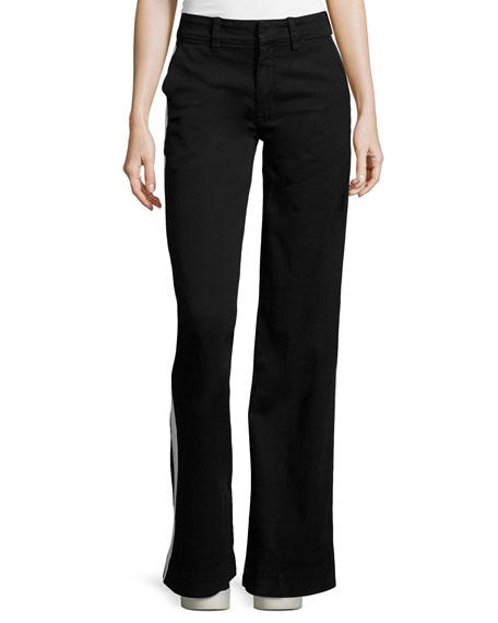 Joplin Wide-Leg Trousers w/Track Stripe, Black