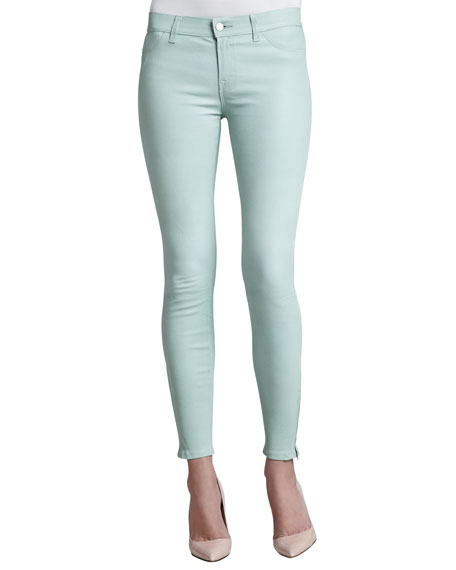 J Brand L8001 Leather Skinny Jeans, Mint