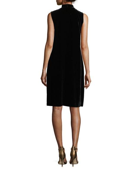 Ronan Sleeveless Tie-Neck Velvet Dress