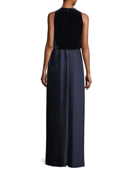 Marsiela Sleeveless Velvet Pleated Maxi Cocktail Dress