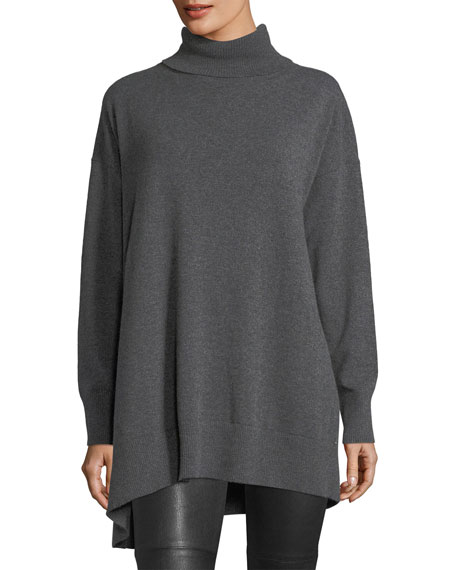 Relaxed Asymmetric Cashmere Turtleneck Sweater