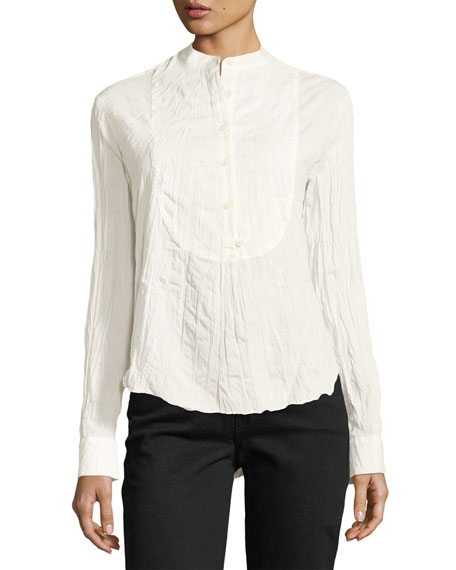 Long-Sleeve Button-Front Tuxedo Gauze Shirt