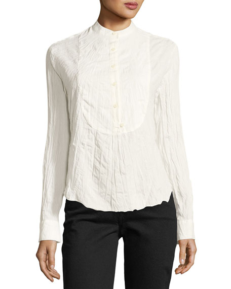 Derek Lam 10 Crosby Long-Sleeve Button-Front Tuxedo Gauze