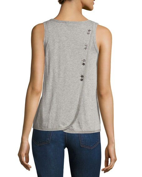 Scoop-Neck Crossover Tank W/ Buttons