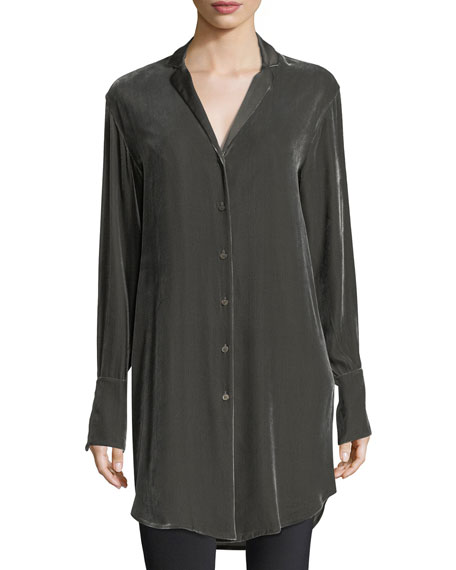 Jory Long-Sleeve Velvet Button-Down Tunic