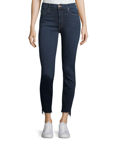 Mother Denim Stunner Zip-Ankle Step Fray Skinny Jeans