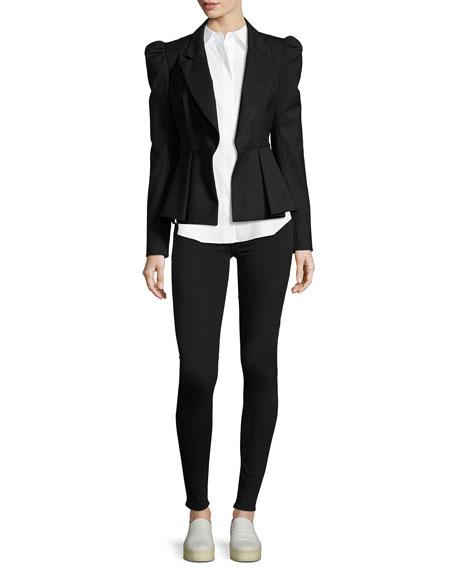 Long-Sleeve Button-Front Slit-Shoulder Shirt