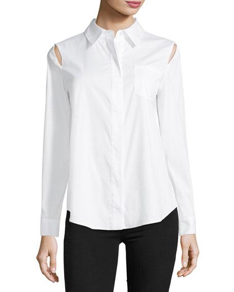 Milly Long-Sleeve Button-Front Slit-Shoulder Shirt