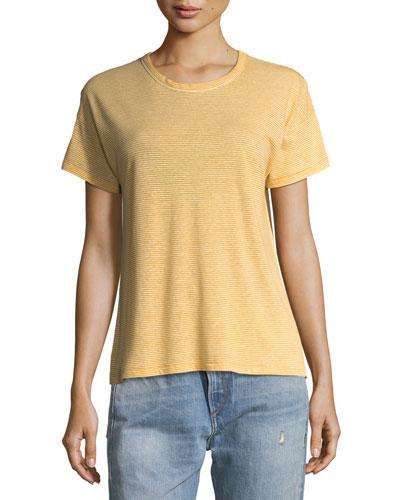 Crewneck Short-Sleeve Striped Linen T-Shirt