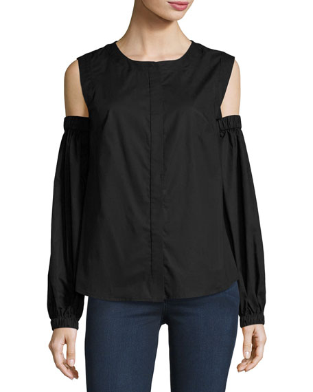 Mica Cold-Shoulder Round-Neck Poplin Shirt