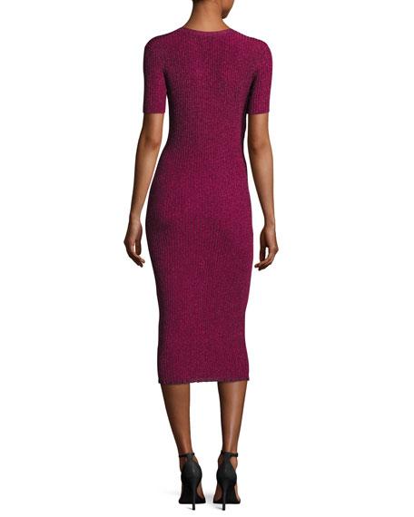 Stardust Short-Sleeve Ribbed Sheath Dress