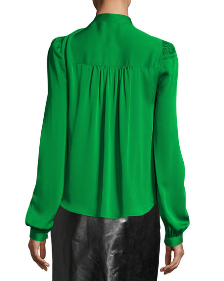Long-Sleeve Tie-Neck Stretch-Silk Blouse