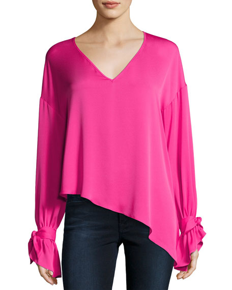 62880a7bad538f Milly Nicolina Tie-Sleeve Asymmetric Stretch-Silk Top