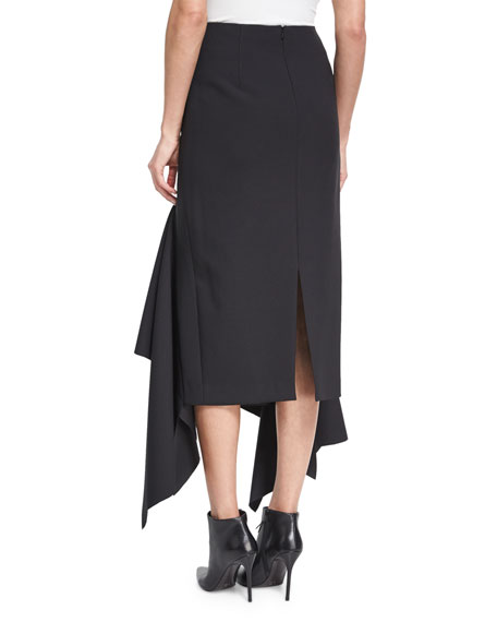 Theon Asymmetric Ruffled Skirt, Black