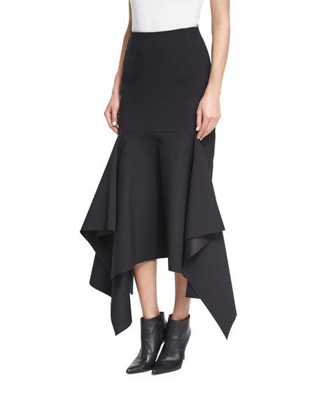 Theon Asymmetric Ruffled Skirt, Black
