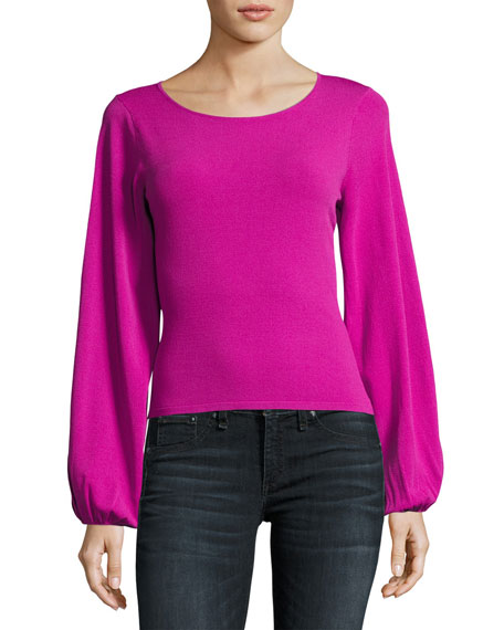Voluminous Bishop-Sleeve Pullover