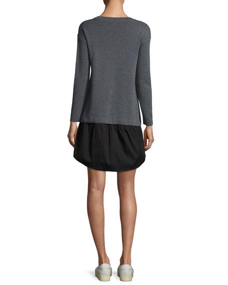 Long-Sleeve Removable Shirting Knit Dress
