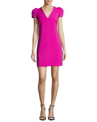 Josie Puff-Sleeve Italian Cady Minidress