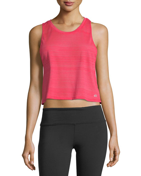 Alo Yoga Track Racerback Cropped Mesh-Back Tank Top