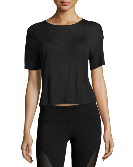 Entwine Short-Sleeve Lace-Back Athletic Top, Black