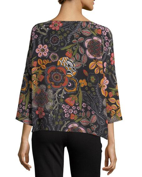 3/4-Sleeve Floral Silk Top